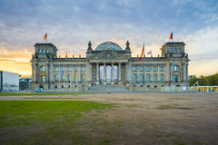 Sunrise at the Reichstag Building a historic edifice in Berlin, Royalty Free Stock Photo