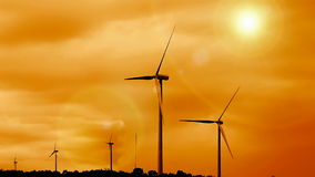 Sunrise and renewable wind farm stock video