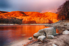 Sunrise at the reservoir Stock Photo