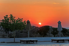 Sunrise on resort. Landscape moning sunrise resort beach Royalty Free Stock Images