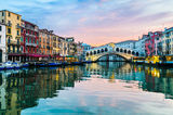 Sunrise at the Rialto Bridge, Venice Stock Photo