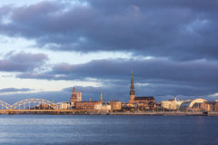 Sunrise in Riga, Latvia (November 21, 2015). Sunrise panorama of Riga town center from the Daugava river embankment - Latvia (November 21, 2015 Royalty Free Stock Image