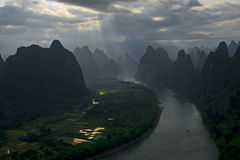 Sunrise at river. In Guilin,china Royalty Free Stock Photography