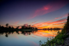 Sunrise on the river. Beautiful sunrise on the river Stock Photo