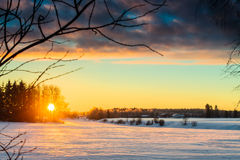 Sunrise At The River 2. The beautiful winter sunrise casted long shadows on the ice on the river stock images