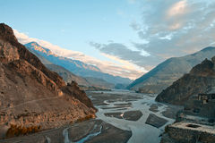 Sunrise in a river Cali Gandaki valley Royalty Free Stock Photos