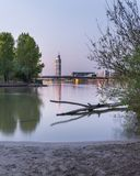 Sunrise at river Danube on a clear morning in spring. Sunrise at river Danube in Vienna Austria on a clear morning in spring royalty free stock image