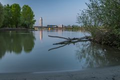 Sunrise at river Danube on a clear morning in spring. Sunrise at river Danube in Vienna Austria on a clear morning in spring stock image