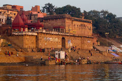 Sunrise on the River Ganges in Varanasi, India Royalty Free Stock Photos