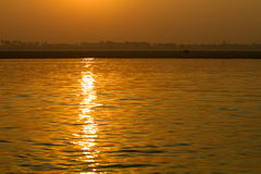 Sunrise on the River Ganges in Varanasi, India. November 2012 royalty free stock photos