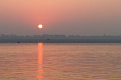 Sunrise on the River Ganges in Varanasi, India Royalty Free Stock Images