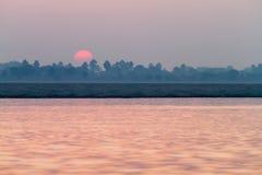 Sunrise on the River Ganges in Varanasi, India Royalty Free Stock Image