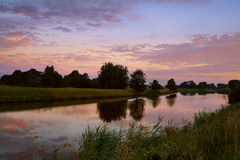 Sunrise on river in Groningen Royalty Free Stock Photography