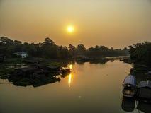 Sunrise at river life stock photo