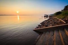 Sunrise at river. Sunrise at Mekong River, Nakhon Phanom, Thailand Stock Photo