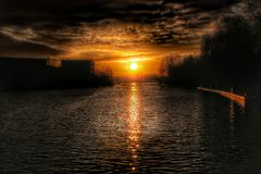 Sunrise River. Sunrise over the horizon in BRB Stock Images