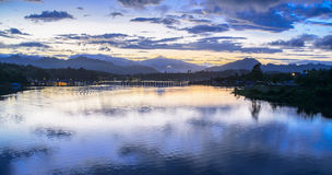 Sunrise in the river of Sanklaburi, Thailand Royalty Free Stock Photography