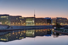 Sunrise at the river Spree in Berlin Stock Photography