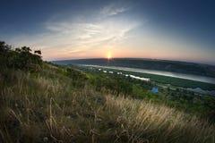 Sunrise on river. Spring landscape Stock Image