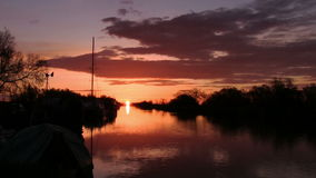 Sunrise on the river, tranquil scene stock video footage