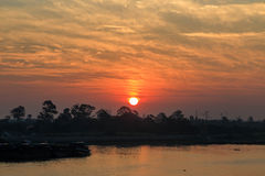 Sunrise with river view. In Bangkok Thailand Stock Image