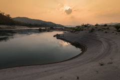 Sunrise River View. Riverbank Mekong river Stock Photo