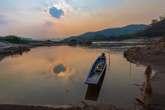 Sunrise River View. Riverbank Mekong river Royalty Free Stock Photography