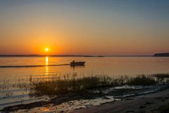 Sunrise on the river Volga. Royalty Free Stock Images