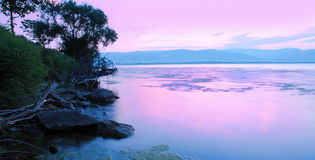 Sunrise on riverbank Royalty Free Stock Images