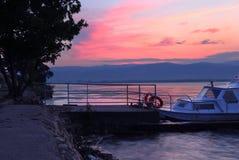 Sunrise on riverbank Royalty Free Stock Image