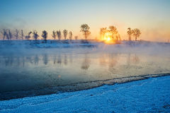 The sunrise riverside. The photo was taken in Wusong island Ulla manchu town Longtan district Jilin city Liaoning provence,China Stock Image