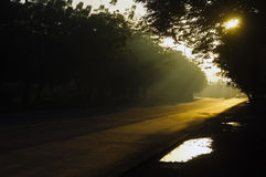 Sunrise on Road Stock Photo