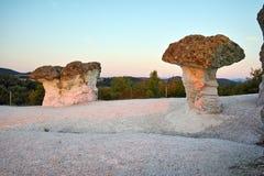 Sunrise at a rock phenomenon The Stone Mushrooms, Bulgaria Stock Images