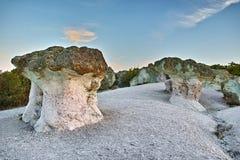 Sunrise at a rock phenomenon The Stone Mushrooms, Bulgaria Royalty Free Stock Photo
