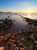 Sunrise on the rocky coast of Black sea Royalty Free Stock Photography