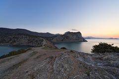 Sunrise on rocky coast of Black Sea Royalty Free Stock Photo
