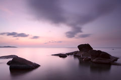 Sunrise at rocky coast of Lamai beach Royalty Free Stock Image
