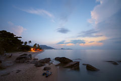 Sunrise at rocky coast of Lamai beach Stock Photo