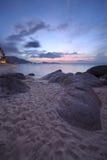 Sunrise at rocky coast of Lamai beach Stock Images