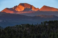 Sunrise in Rocky Mountain National Park. Sunrise in the Rocky Mountains of Colorado. Peaks rising up in the Rocky Mountain National Park with the sunlight just royalty free stock photography