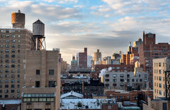 Sunrise on the rooftops in Manhattan Royalty Free Stock Photography