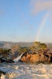 Sunrise at the Ruacana waterfall, Namibia royalty free stock image