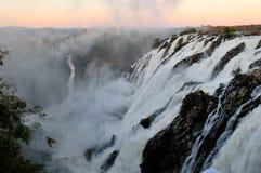 Sunrise at the Ruacana waterfall, Namibia stock photography