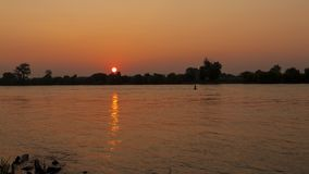 Sunrise over the river Rhine, wide shot time lapse stock video footage