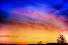 Sunrise in rural terrain. Beautiful bright sunrise at matutinal length of time in rural terrain Royalty Free Stock Photography