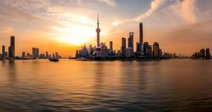 The Sunrise's Shanghai Bund Panorama Stock Photos