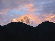 Sunrise in Sagarmatha National Park, Himalayas Royalty Free Stock Images