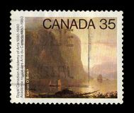 Sunrise on the Saguenay, painting by Lucius O`Brien. CANADA - CIRCA 1980: A stamp printed in Canada shows sunrise on the Saguenay, painting by Lucius O`Brien stock images