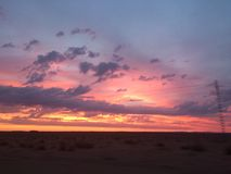 Sunrise in Sahara desert Stock Image