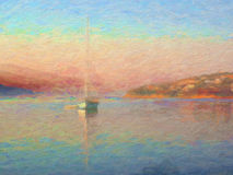 Impression Sunrise, Sail Boat in Bay, Oil Painting Style. An impressionist oli painting style, after Turner or Monet, image of a sailing yacht in a sea bay at stock photo